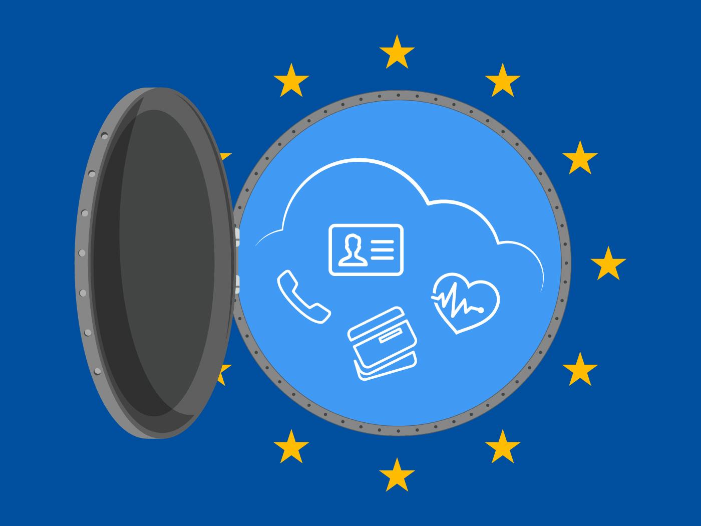 Die EU-Datenschutz-Grundverordnung steht vor der Tür. Die Grafik zeigt eine offene Luke zu sehen, durch die verschiedene mit der EU-DSGVO assoziierte Symbole zu sehen sind