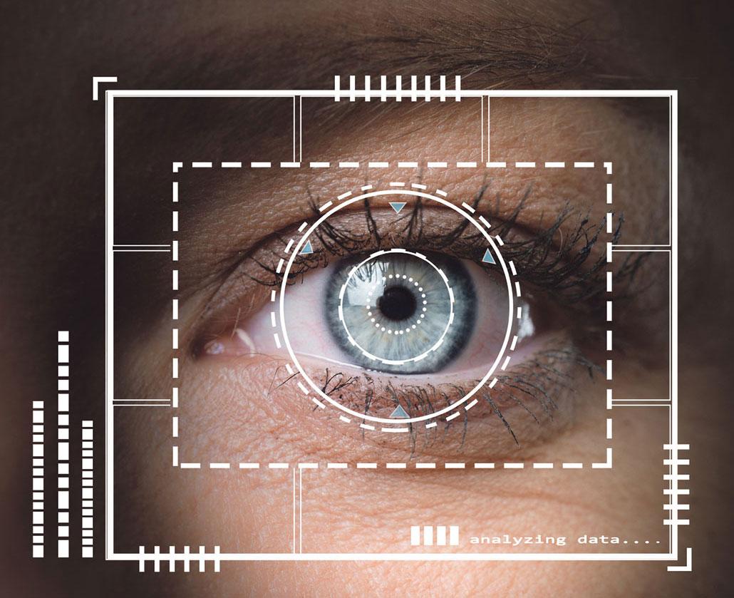 Ein Auge mit einem digitalen Scan.