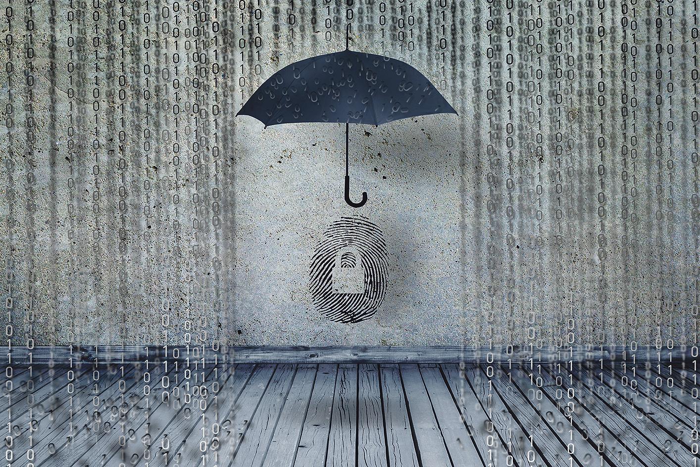 Ein Schirm im binären Regen. Thema: IT gegen Hacker schützen
