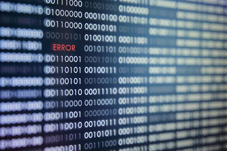 Binärer Code mit Error-Meldung