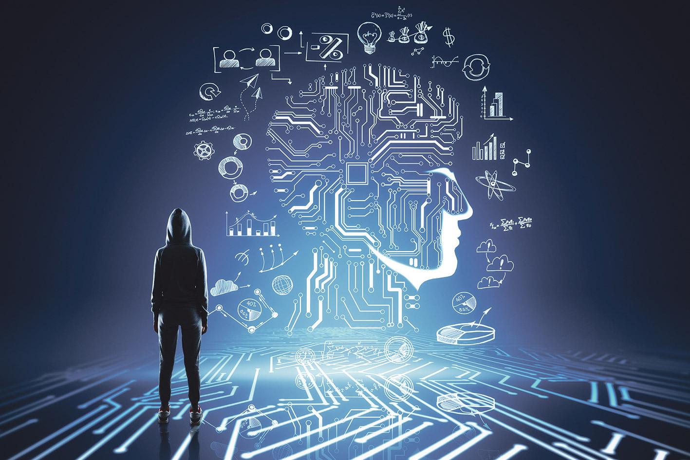 Vermummte Person steht vor einem Gesicht, das aus Datenmengen besteht (symbolisch für persönliche Daten).