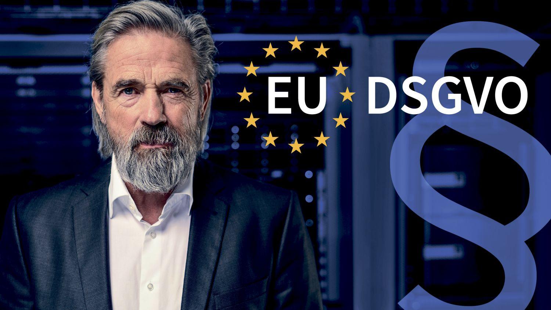 Die G DATA Software AG gibt Tipps zum Thema EU-DSGVO. Ein älterer Herr steht neben EU-Sternen, in denen EU-DSGVO geschrieben steht