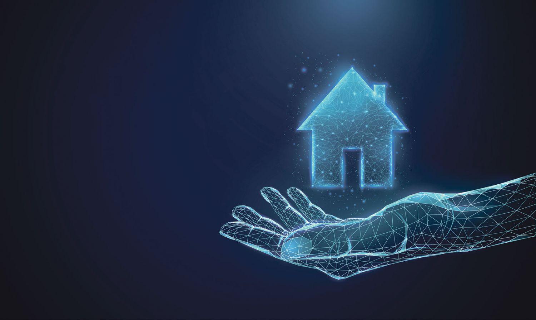Ein Hologramm von einer Hand mit einem schwebenden Haus darüber.